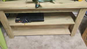 RUSTIC TV STAND W. COMPONENT AND DVD SHELF.