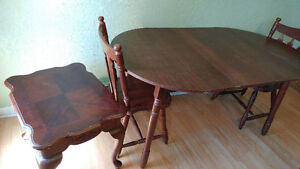dinning table side table and 2 chairs