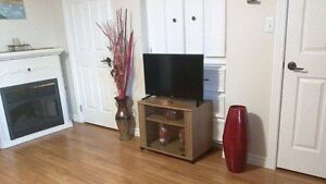T.V stand with glass doors with wheels