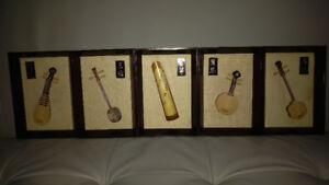 MINT VINTAGE Wood Hand Carved Chinese Instruments Wall Decor