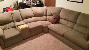 Sectional with recliners and hide-a-bed