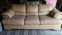 Genuine Leather Sofa - Neutral Beige Colour