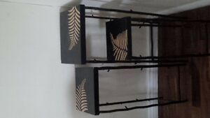 wood carved wall art and side tables