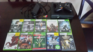 Xbox 360 with controller and 10 games