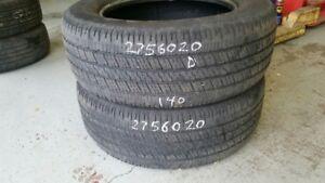 Pair of 2 Goodyear Wrangler SR-A 275/60R20 tires (40% tread life