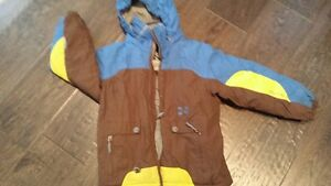 Winter / Ski jacket, size 6, brown and blue with hood