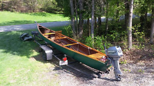 Canoe with trailer, motor, cover, chairs & accessories