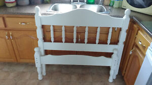 Twin wooden headboard and footboard and rails