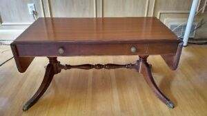Gibbard Solid Cherry Coffee Table & Glass Top - $180.
