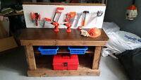 beautiful hand crafted wooden tool bench
