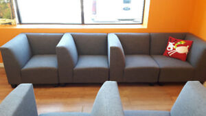 GREY RECEPTION AREA MODULAR COUCH - 4 PIECES, AS NEW