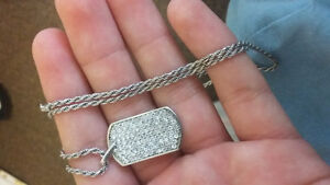 sterling silver rope chain with sterling silver dog tag pendant