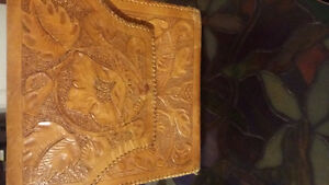 Purse: Saddle leather approx 70yr old hand carved