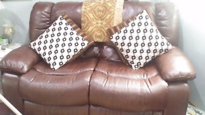 2 Pcs Air Leather Recliners Love Seat and Rocker recliner