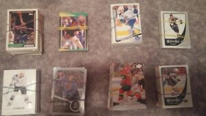 Hockey cards with a few baseball and basketball cards