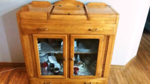 Solid Maple Antique Buffet Hutch