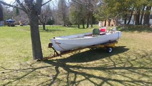 14 ft aluminum boat and trailer with 9.9hp