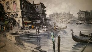 Gorgeous large 48x24 Oil on Canvas painting view of Venice West Island Greater Montréal image 5