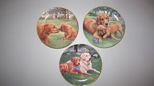 3 Golden Retriever Numbered Collector Plates, Danbury Mint .