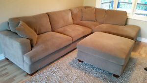 $650 - BROWN LINEN SECTIONAL SOFA FROM COSTCO