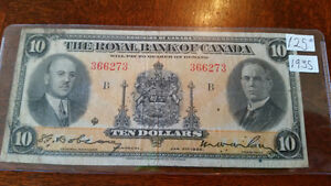 RARE 1935 $10 bill the Royal Bank of Canada only $125...........