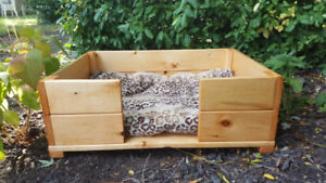 PET BED - FOR SM. DOGS OR CATS ADD OWN BLANKET WOODEN HANDMADE