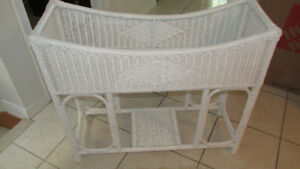 White Wicker Planter for Indoor or Outdoor Use