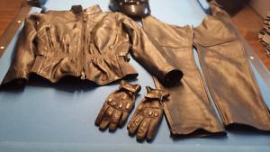 Ensemble pour moto  Manteau, Gant et Chaps en cuir pour femme