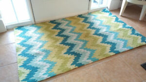 Green and Blue Chevron Print 3' x 5' Rug