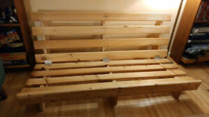 Handcrafted solid wood futon frame and mattress!