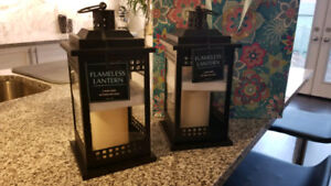 Stunning Pair of Flameless Battery Operated Patio Lanterns