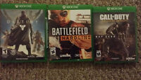 Destiny, Battle Field, Call of Duty 40$ each Xbox one