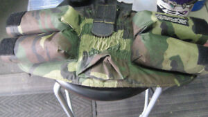 paint ball belt with 4 containers and neck guard