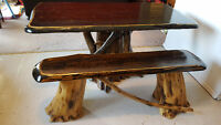 SOLID HARD WOOD TREE TRUNK DINING TABLE AND BENCH