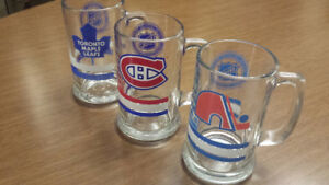 NHL Beer Mugs- Maple Leafs, Montreal Canadiens, Quebec Nordiques