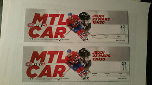 HOCKEY TICKETS CANADIANS VS HURRICANES - Mar.23 - Sec. 102 Row K