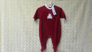 NEW Baby Boy Tommy Hilfiger Christmas Sleeper Red Size 3-6 Mths