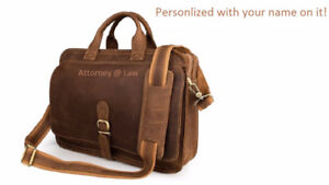 BROWN LEATHER LAWYER / ATTORNEY BAG ENGRAVED w/NAME ON IT