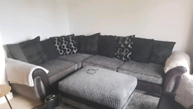 Left hand corner sofa dfs with large footstool