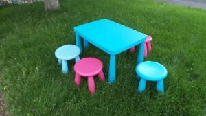 IKEA child  blue play  table with 6 chairs