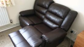 Leather Reclining 2 stear sofa