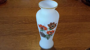 REDUCED~Stunning Hand Painted Antique White Vaseline Vase~1950's