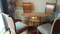 Large Dining Table with 4 chairs and one stand- 6pcs