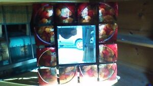 GORGEOUS ARTISTIC 3D ORANGE/RED METAL MIRRORS, TWO AVAILABLE