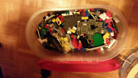 Lego pieces and bin