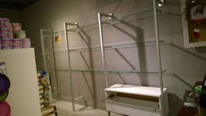 Large Glass Display Shelf with Drawers