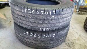 Pair of 2 Michelin LTX AS LT265/70R17 tires (50% tread life)