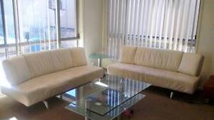 White Leather Sofa / Lounge (2x 3-seaters) North Ryde Ryde Area Preview