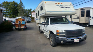 2003 GMC 3/4 ton with slide in camper