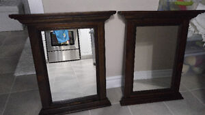 Matching pine jacobean stained mirrors